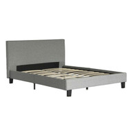 Queen size Grey Upholstered Platform Bed Frame with Headboard QGPB5198451