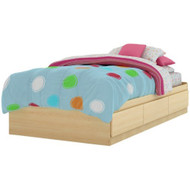 Twin Platform Bed Frame with Storage Drawers in Natural Maple SSFOTM39NM