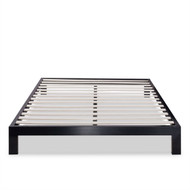 Twin Asian Style Black Metal Platform Frame with Wooden Slats TMPB5566741