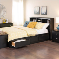 Twin XL Platform Bed with Bookcase Headboard & 3 Storage Drawers CPB420954