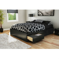Full size Modern Platform Bed with 3 Storage Drawers in Black SFPB27150