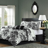 CA King size 7-Piece Comforter Set with Black Grey Damask Pattern CHD581981565