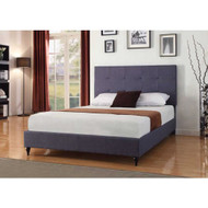 Full size Dark Blue Charcoal Linen Platform Bed with Upholstered Headboard BCHL84478154