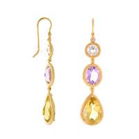 Herco Earrings 14KT Yellow Earrings 3 Multi-color 14RGEA184YD