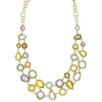 Herco 14k Yellow Gold Multi-color Gemstone Necklace 18''