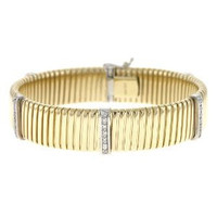 Herco 14k Yellow Gold Goose Neck Drilled Holes 8.5mm Bracelet 7.5''