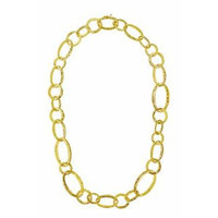 Herco 18k Yellow Gold Textured Link Necklace 20''