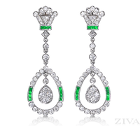 Ziva Art Deco Emerald Earrings