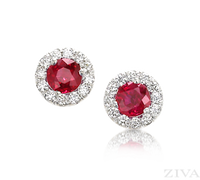 Ziva Ruby Earrings with Halo