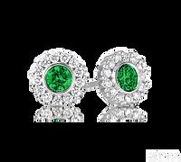 Ziva Emerald Earrings with Diamond Halo