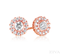 Ziva RG Diamond Studs with Halo