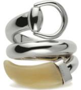 Gucci Horsbit Horn CONTRARIER Ring Silver Size 52