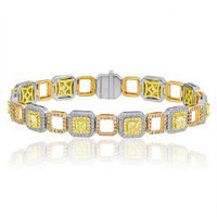 6.95 Ct Fancy Yellow, Pink & White Diamond Bracelet (ydrad 3.32ct, Ydrd 0.90ct, Pink 1.07ct, Rd 1.66ct)