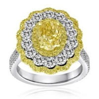 4.6 Ct Fancy Yellow & Pink Diamond Ring (ydrd 0.52ct, Pink 0.34ct, Rd 1.72ct, Fyov 2.02ct)