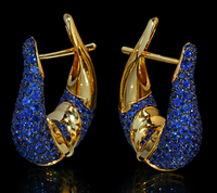 "Mousson Atelier New Age ""Sabre"" Gold Sapphire Earrings E0049-0/3"