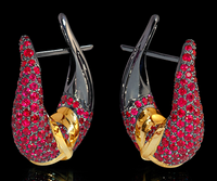 """Mousson Atelier New Age """"Sabre"""" Gold Ruby Earrings E0049-2/2"""