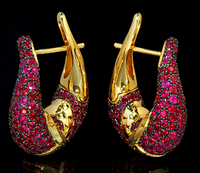 "Mousson Atelier New Age ""Sabre"" Gold Ruby Earrings E0049-2/5"