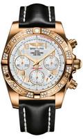 Breitling Chronomat 41 RG Dia Bezel LeatherTang HB0140AA/A748