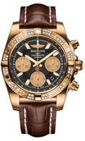 Breitling Chronomat 41 RG Dia Bezel Croco Strap Tang HB0140AA/BA53