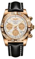 Breitling Chronomat 41 RG Dia Bezel LeatherTang HB0140AA/G713