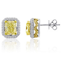 5.66 Carat Yellow Diamond Stud Earrings