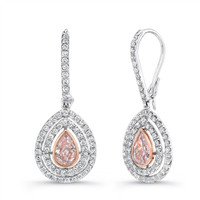 Uneek 1.14cttw Pink Diamond Teardrop Earrings LVE 258