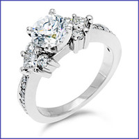 Gregorio 18K White Engagement Diamond Ring R-177