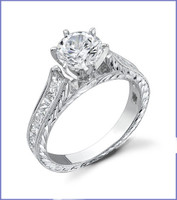 Gregorio 18K White Engagement Ring R-334