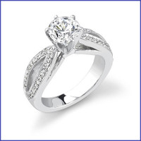 Gregorio 18K White Engagement Ring R-335