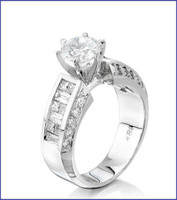 Gregorio 18K White Diamond Engagement Ring R-4355
