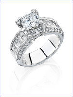 Gregorio 18K White Diamond Engagement Ring R-4355B