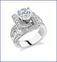 Gregorio 18K White Engagement Diamond Ring R-4549