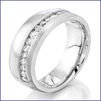 Gregorio 18K White Diamond Engagement Band R-516