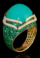 "Mousson Atelier New Age ""Fuji"" Gold Chrysoprase Ring R0053-0/7"