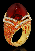 "Mousson Atelier New Age ""Fuji"" Gold Garnet Ring R0053-0/8"