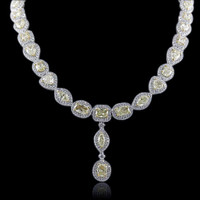 27.16 Carat Fancy Yellow Diamond Necklace SEN16962Y