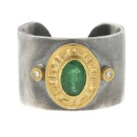 Herco Rings Silver-18KT-24KT Ring Emerald SVKURG53BD