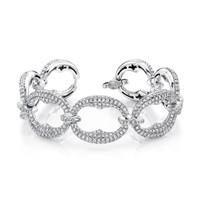 9.5 Carat Scalloped Oval Diamond Link Bracelet