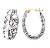Sterling Silver Traversa Oval Hoop Earrings