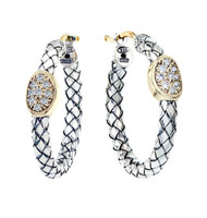 "1"" Diameter Silver Braided Basketweave Hoop Earrings"