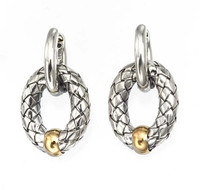 18Kt/Sterling Silver Traversa Oval Link Earring