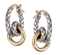 18Kt/Sterling Silver Traversa Small Hoop Earring