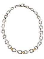 18Kt/Sterling Silver Small Oval Traversa Link Necklace