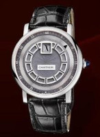 Cartier Rotonde De Cartier Jumping Hour (WG/ Silver/ Leather)