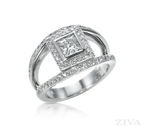 Ziva Vintage Princess Cut Diamond Anniversary Ring