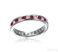 Ziva Ruby & Diamond Eternity Ring in Channel Setting