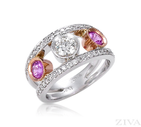 Ziva Unique Pink Sapphire & Diamond Anniversary Ring