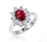 Ziva Ruby Ring with Diamonds Around