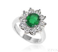 Ziva Large Emerald Ring with Round Diamonds