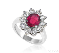 Ziva Large Ruby Ring with Round Diamonds